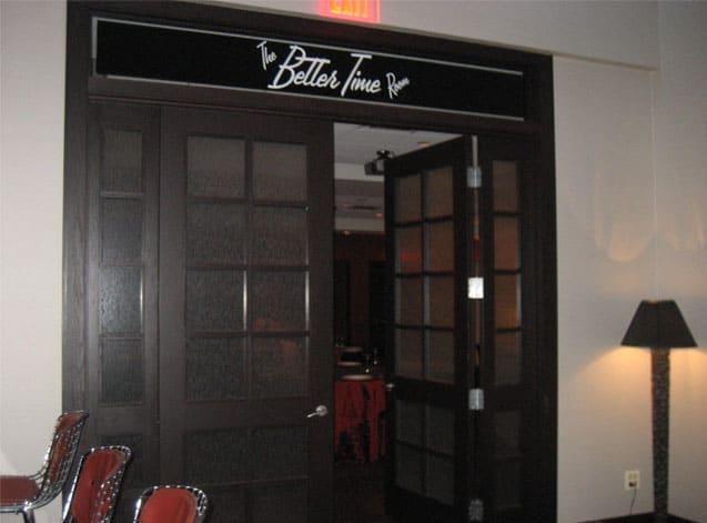 Interior decorative film provides privacy for party room